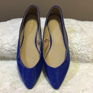 Lane Bryant royal/cobalt SHINY flats size 10 WIDE